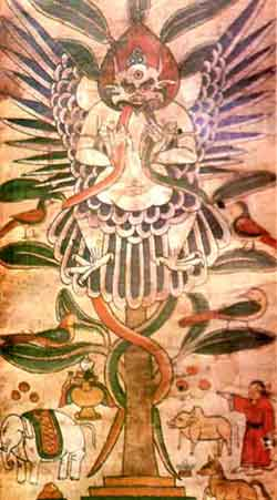 Garuda figure in Nakhi illustrated funeral scroll.