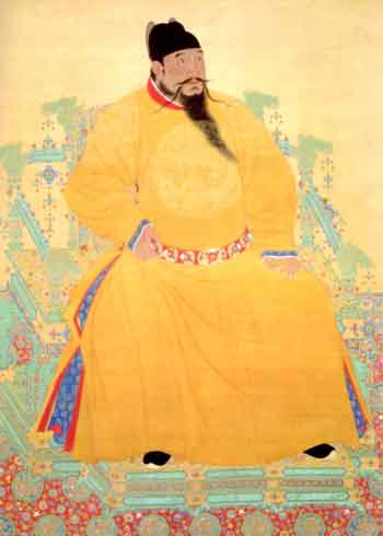Detail of portrait of the third Ming emperor, Zhu Di