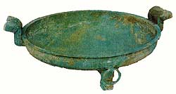 Undecorated bronze pan or platter with two lug handles unearthed in Cailou village