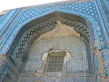 Photograph showing tiled façade of the Tughluq Tömur Khan mazar in Huocheng in 2004. [BGD]