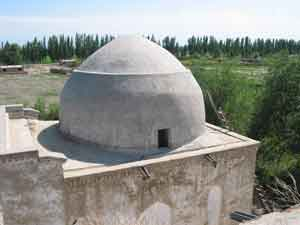 Photograph showing view of roof of the Tughluq Tömur Khan mazar in Huocheng in 2004.