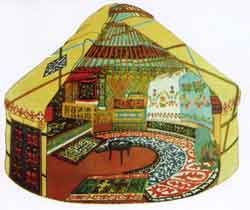 Cutaway diagram of Qazaq yurt, similar to a replica in the Ili Kazak Autonomous Prefecture Museum, Yining.