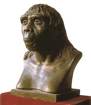 The bust of Peking Man as he greets visitors to the Peking Man Site Museum