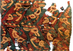 Woollen twill fabric with animal pattern unearthed from grave no. 34 at the Zaghanluq cemetery and the property of Toghraklek Villa, Qiemo.