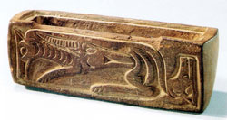Timber box with wolf and sheep pattern unearthed from grave no. 64 at the Zaghanluq cemetery and now displayed in Toghraklek Villa, Qiemo.